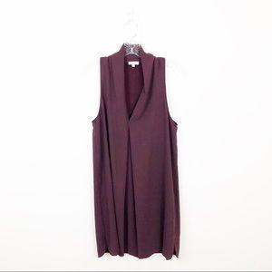 Aritzia Wilfred Japanese Burgundy Silk Mini Dress